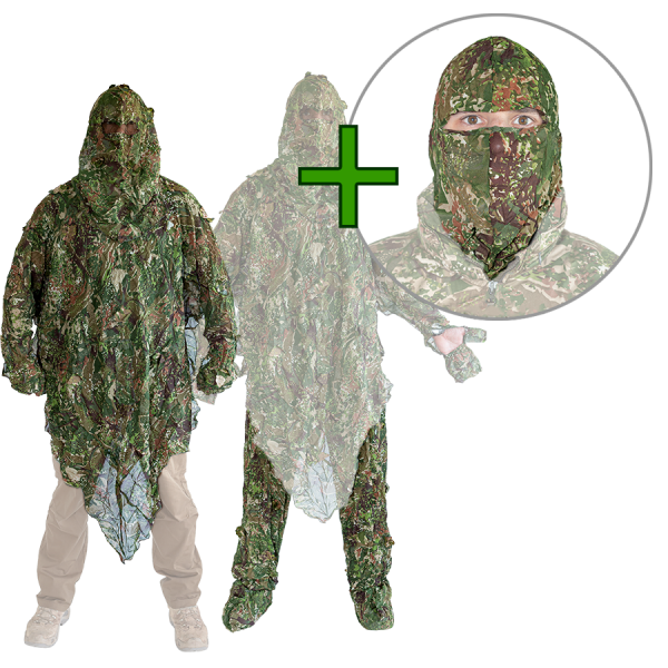 GHOSTHOOD® Tarnset 1 für den Fotografen (Poncho + Legs + Maske)