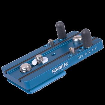 """Novoflex QPL AT 2 1/4"""" Klemmplatte mit Verdrehschutz 80 mm und 1/4"""" Gewindebohrung für Slinggurtansc"""