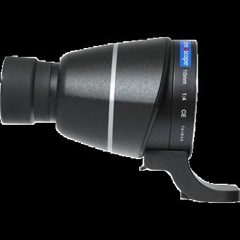 Lens2scope Okularvorsatz 10 mm für Nikon F, schwarz, Geradeeinblick