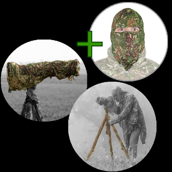 GHOSTHOOD® Tarnset 3 für die Fotoausrüstung (Optic Camo + Tripod Camo + Maske)